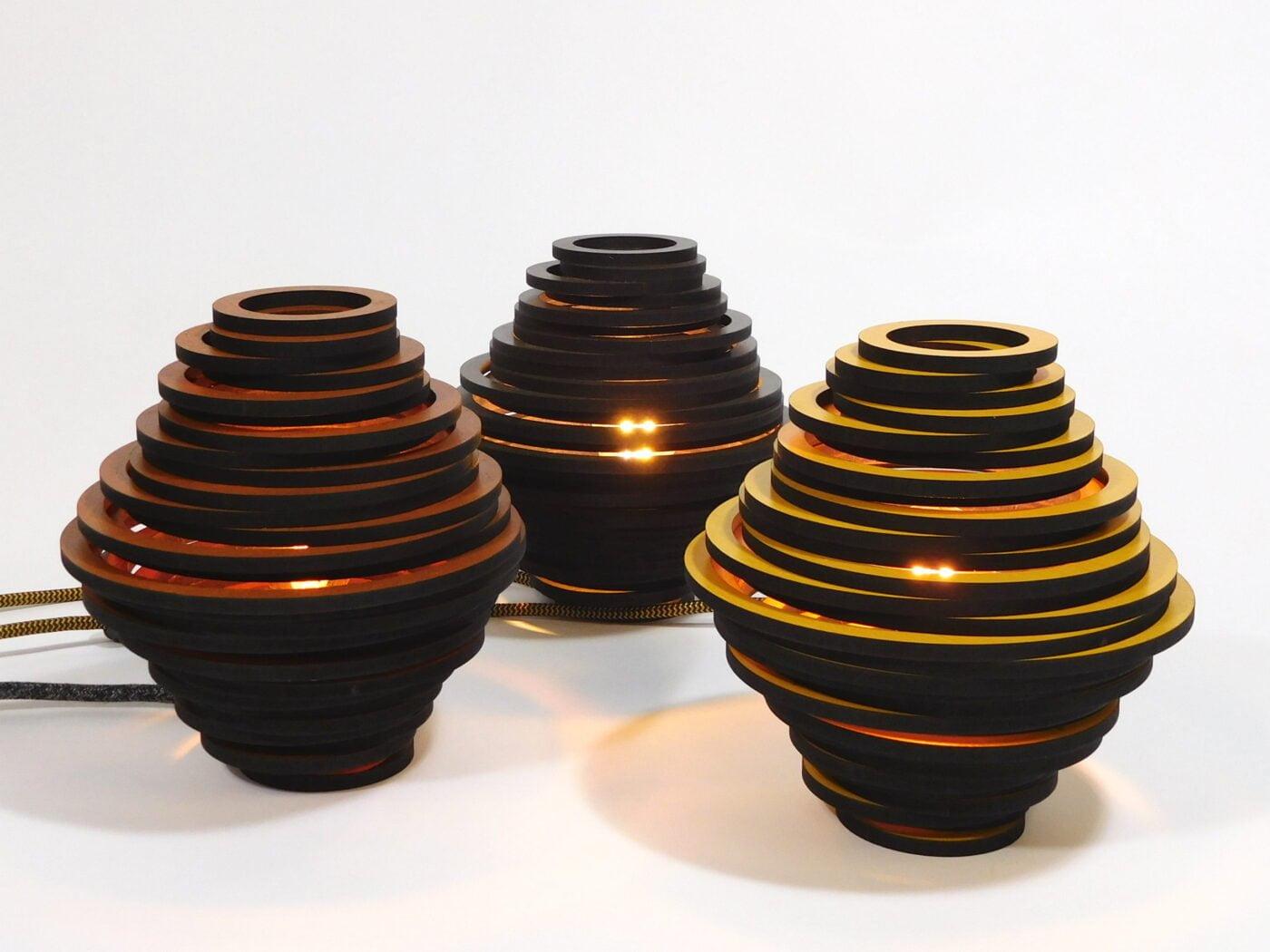 fibonacci-lasergesneden-houten-design-lamp-drie kleuren
